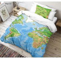3D povlečení 140x200, 70x90cm Mapa světa