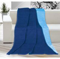 Deka jednobarevná 150x200cm tmavě modrá / světle modrá