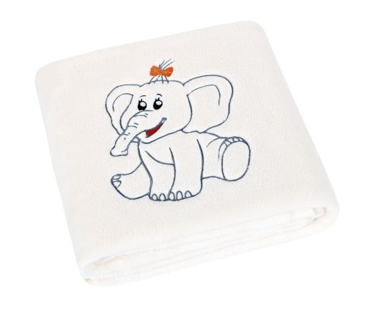 Dětská přikrývka Micro 75x100cm s výšivkou sloník bílá