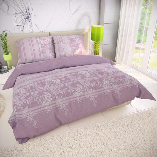 Francouzské bavlněné povlečení BOVA fialová 200x200, 70x90cm