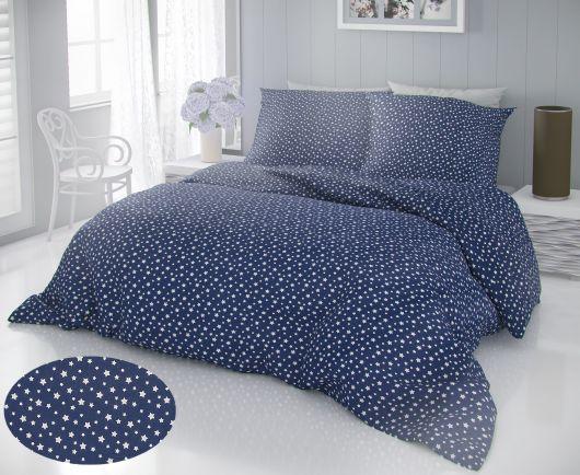 Francouzské bavlněné povlečení DELUX 200x200, 70x90cm HVĚZDY modré
