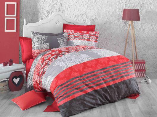 Francouzské bavlněné povlečení DELUX RED STRIPES 200x200, 70x90cm