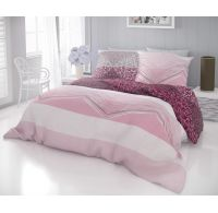 Francouzské bavlněné povlečení DELUX SIMON růžová 240x200, 70x90cm