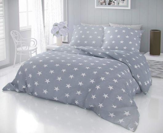 Francouzské bavlněné povlečení DELUX STARS šedé 200x200, 70x90cm