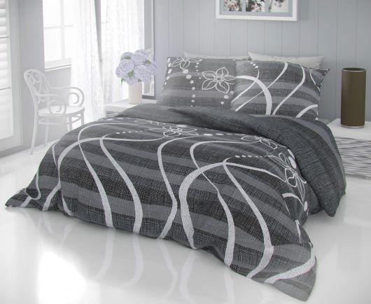 Francouzské bavlněné povlečení DELUX VALERY šedé 200x200, 70x90cm