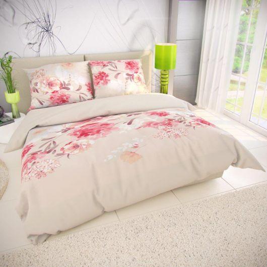 Francouzské bavlněné povlečení TANEA růžová 200x200, 70x90cm