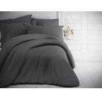 Francouzské jednobarevné bavlněné povlečení 200x200, 70x90cm tmavě šedé