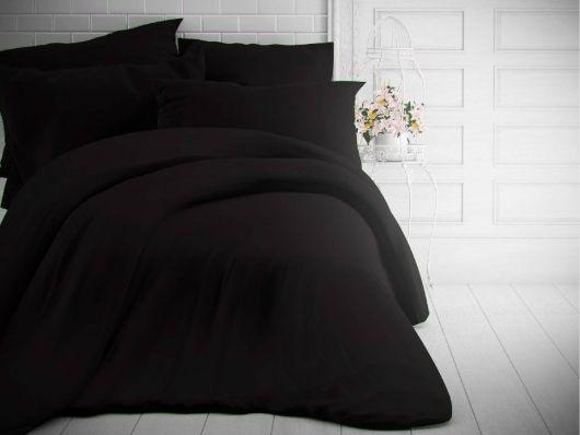 Francouzské jednobarevné bavlněné povlečení 220x200, 70x90cm černé