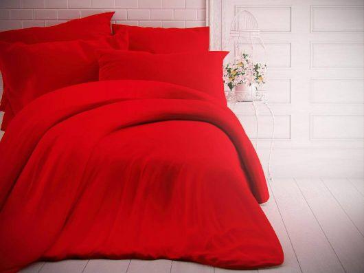 Francouzské jednobarevné bavlněné povlečení 240x200, 70x90cm červené
