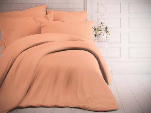 Francouzské jednobarevné bavlněné povlečení 240x200, 70x90cm lososové