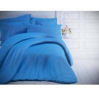Francouzské jednobarevné bavlněné povlečení 240x200, 70x90cm modré