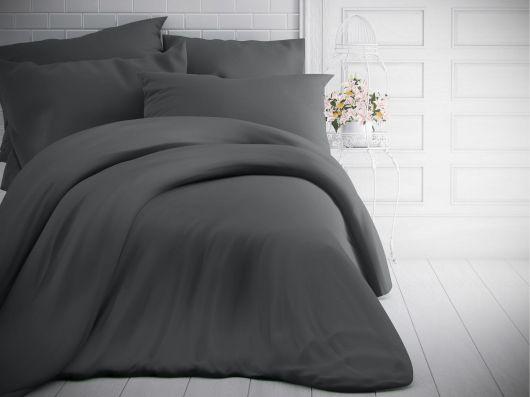 Francouzské jednobarevné bavlněné povlečení 240x200, 70x90cm tmavě šedé