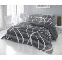 Francouzské prodloužené bavlněné povlečení DELUX VALERY šedé 240x220, 70x90cm