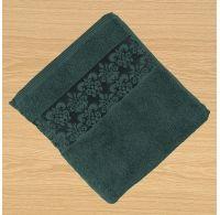 Froté ručník 50x100cm bordura tmavě zelený