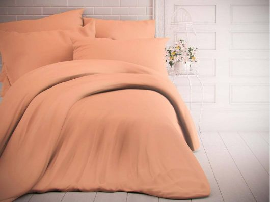 Jednobarevné bavlněné povlečení 140x200, 70x90cm lososové