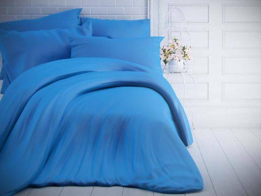 Jednobarevné bavlněné povlečení 140x200, 70x90cm modré