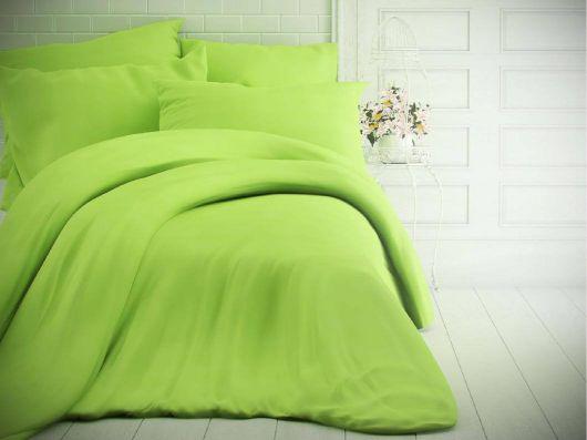 Jednobarevné bavlněné povlečení 140x200, 70x90cm světle zelené