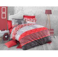 Klasické ložní bavlněné povlečení DELUX RED STRIPES 140x200, 70x90cm