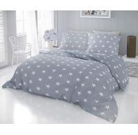 Klasické ložní bavlněné povlečení DELUX STARS šedé 140x200, 70x90cm