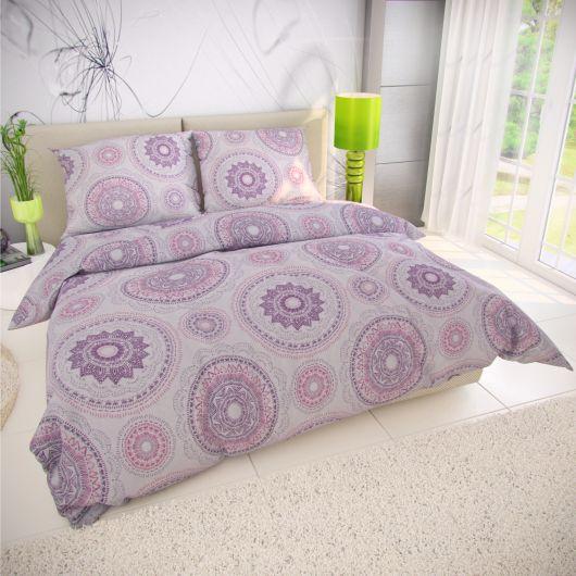 Klasické ložní bavlněné povlečení MANILA fialová 140x200, 70x90cm