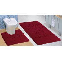 Koupelnová a WC předložka bordová stopa