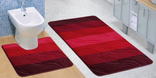 Koupelnová a WC předložka bordové vlny