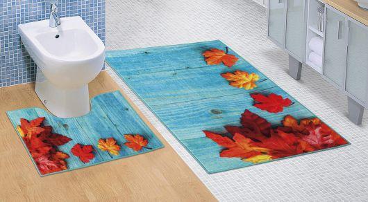 Koupelnová a WC předložka Javorové listy 3D