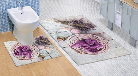 Koupelnová a WC předložka Levandule 3D