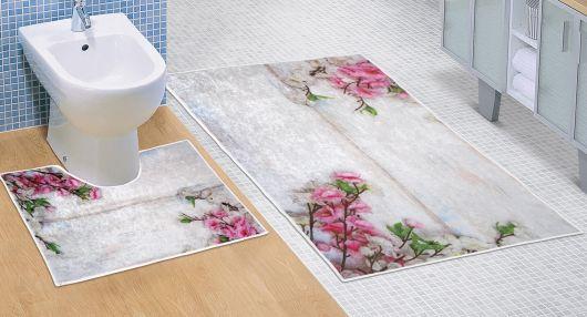 Koupelnová a WC předložka Růžový květ 3D
