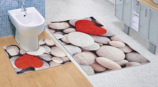 Koupelnová a WC předložka Světlé kameny 3D