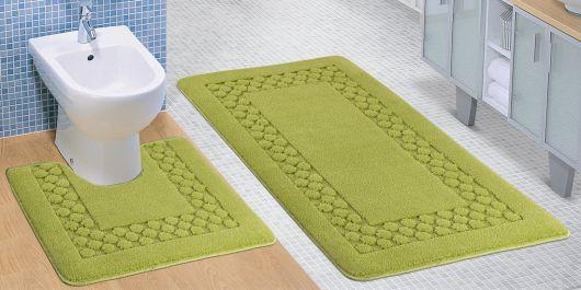Koupelnová a WC předložka zelený rám
