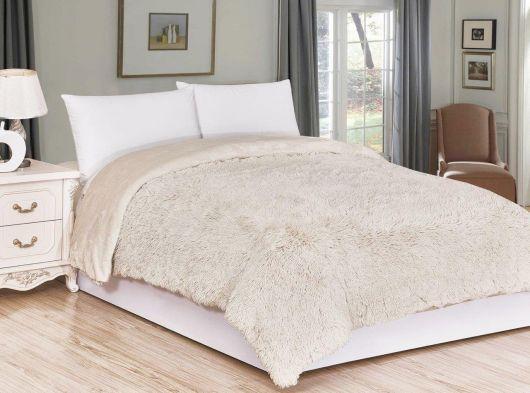 Luxusní deka s dlouhým vlasem 200x230cm BÉŽOVÁ