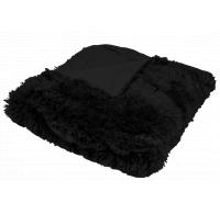 Luxusní deka s dlouhým vlasem 150x200cm ČERNÁ