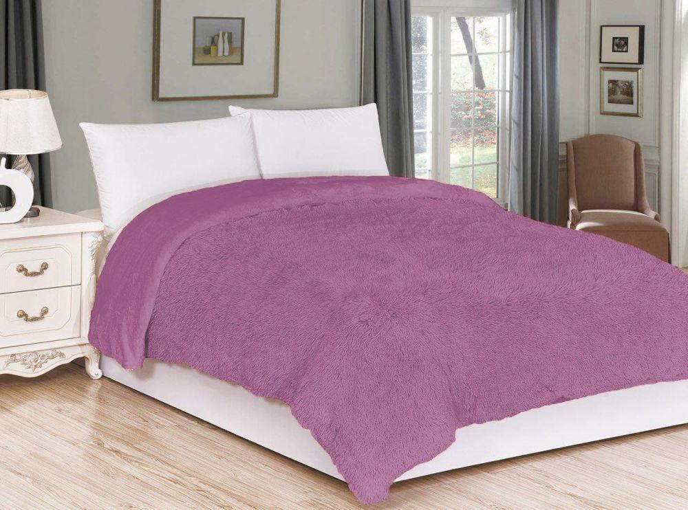 Kvalitex Luxusní deka s dlouhým vlasem FIALOVÁ