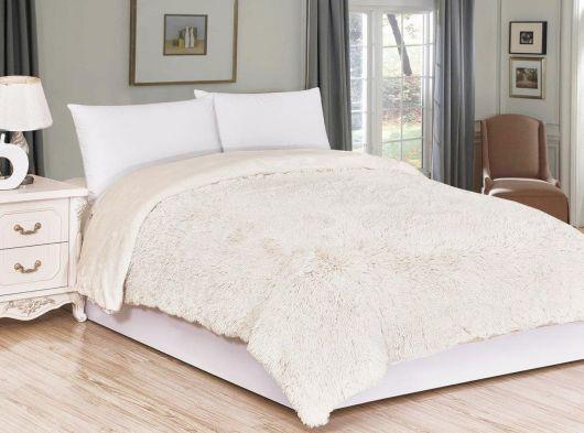 Luxusní deka s dlouhým vlasem 200x230cm SMETANOVÁ