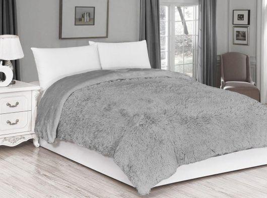 Luxusní deka s dlouhým vlasem 200x230cm SVĚTLE ŠEDÁ