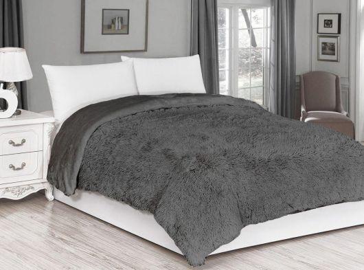 Luxusní deka s dlouhým vlasem 200x230cm TMAVĚ ŠEDÁ