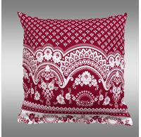 Povlak na polštář hladká bavlna CANZONE červené bordura
