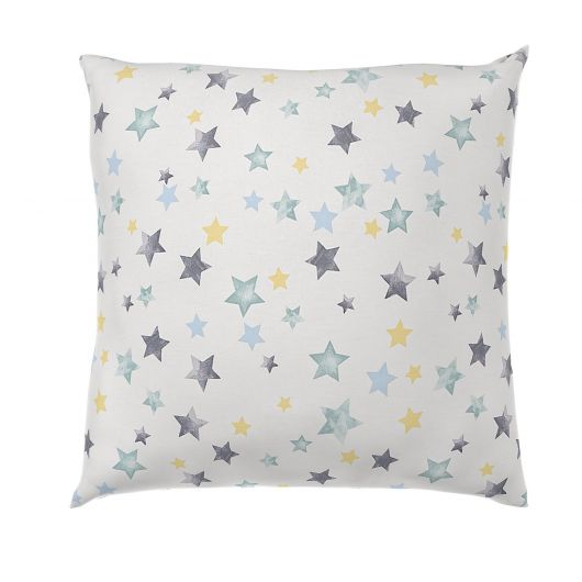 Povlak na polštář hladká bavlna DELUX DUO modré hvězdy