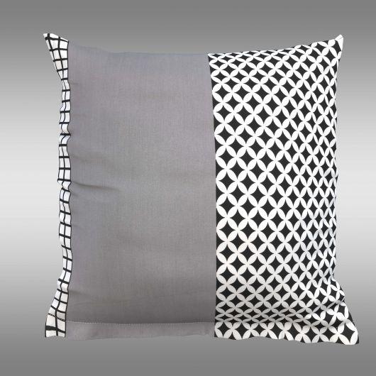 Povlak na polštář hladká bavlna GRID šedé