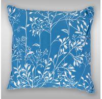 Povlak na polštář hladká bavlna - Větvička modrá