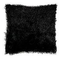 Povlak na polštář s dlouhým vlasem ČERNÝ