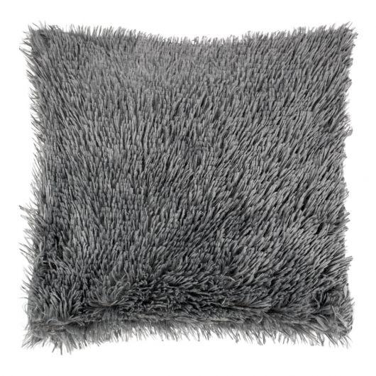 Povlak na polštář s dlouhým vlasem TMAVĚ ŠEDÝ