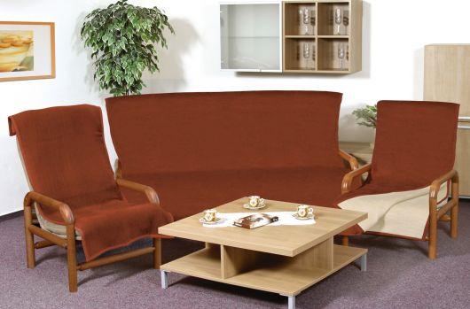 Přehoz jednobarevný na sedací soupravu 3+1+1 sv.béžová/terra