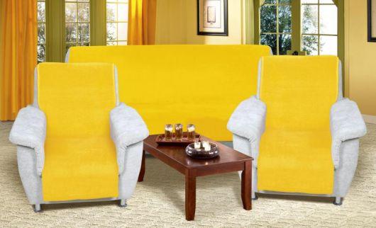 Přehoz na sedací soupravu Micro 3+1+1 žlutý