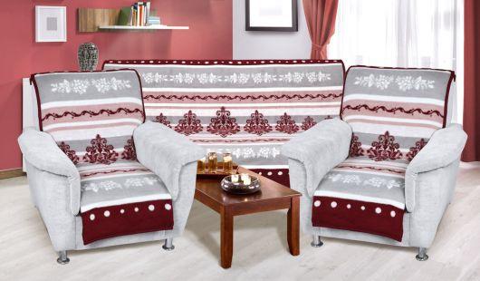 Přehoz vzorovaný na sedací soupravu 3+1+1 bordošedý ornament