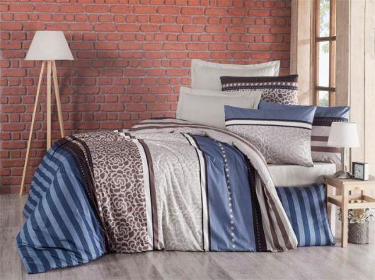 Prodloužené krepové povlečení 140x220, 70x90cm Stripes modré