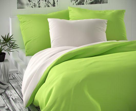 Saténové francouzské povlečení LUXURY COLLECTION 1+2, 220x200, 70x90cm bílé / světle zelené
