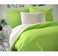 Saténové francouzské prodloužené povlečení LUXURY COLLECTION 1+2, 240x220, 70x90cm bílé / světle zelené