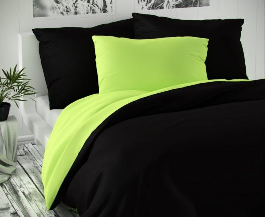 Saténové francouzské prodloužené povlečení LUXURY COLLECTION 1+2, 240x220, 70x90cm černé / světle zelené
